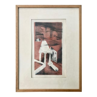 Vintage Abstract Drawing Surreal Sketch Framed For Sale