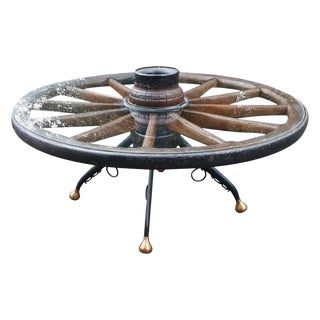 19th Century Rustic Wagon Wheel Glass Top Coffee Table For Sale