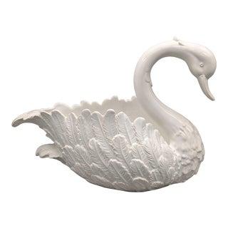 20th Century Italian White Ceramic Swan Planter For Sale