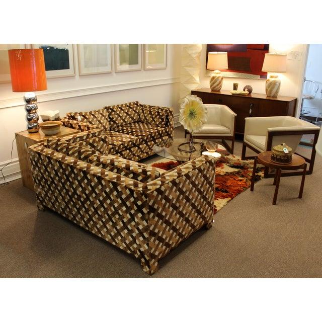 Felt Mid Century Modern Milo Baughman Foremost Pair of Loveseats 1970s Larsen Style For Sale - Image 7 of 12