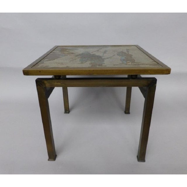 1960s Phillip & Kelvin LaVerne Etched Bronze Side Table For Sale - Image 5 of 5