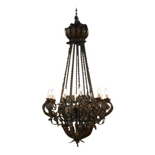 French Iron Chandelier For Sale