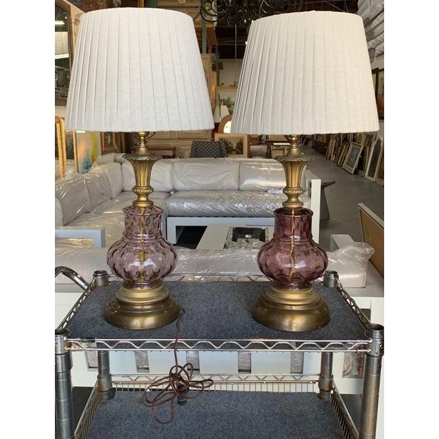Purple Venetian Purple Glass Lamps - A Pair For Sale - Image 8 of 10