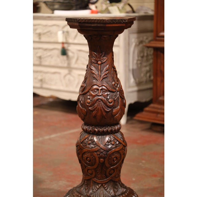 Late 19th Century 19th Century French Louis XIII Carved Walnut Pedestal Table From Normandy For Sale - Image 5 of 9