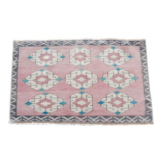 Geometric Pattern Distressed Eclectic Bathroom Table Floor Rug Mat 1′8″ × 2′9″ For Sale