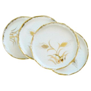 White & Gold Wheat Embossed Coasters - Set of 4
