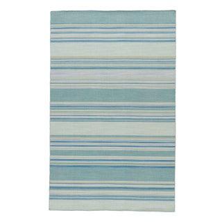 Jaipur Living Kiawah Handmade Striped Blue/ Turquoise Area Rug - 8′ × 10′ For Sale