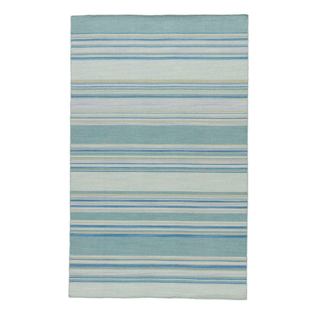 Jaipur Living Kiawah Handmade Striped Blue/ Turquoise Area Rug - 8′ × 10′ For Sale