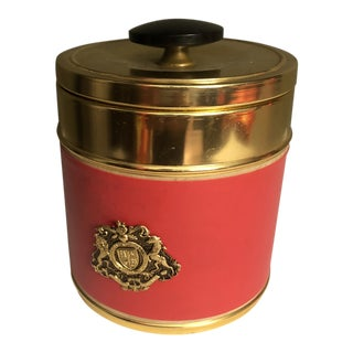 1970s Hollywood Regency Style Gold and Red Jar Box For Sale