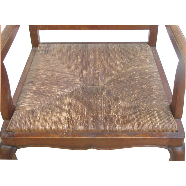 English Arts & Crafts Rush Seat Arm Chair For Sale - Image 6 of 9
