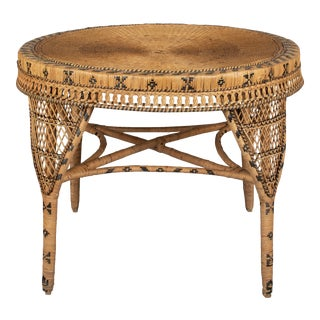 Vintage French Rattan Dining Table For Sale