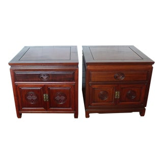 Chinese Asian Ming Style Nightstand Cabinets- a Pair