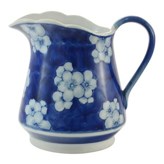 Mid-Century Chinoiserie Blue and White Prunus Pottery Pitcher