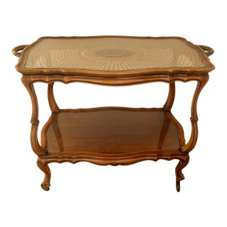 Louis XV Style Cane Top Carved Mahogany Table For Sale