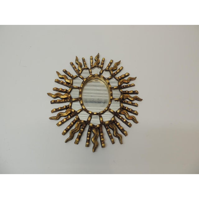 Vintage Small Gold Leaf on Wood Oval Sunburst Peruvian Mirror For Sale - Image 4 of 5