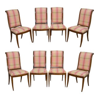 Henredon Charles X Collection Set of 8 Burl Wood Dining Chairs
