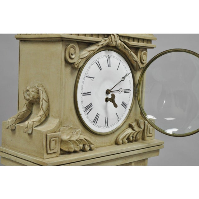 Early 21st Century French Regency Empire Style Cream Painted Grandfather Case Standing Clock For Sale - Image 5 of 13