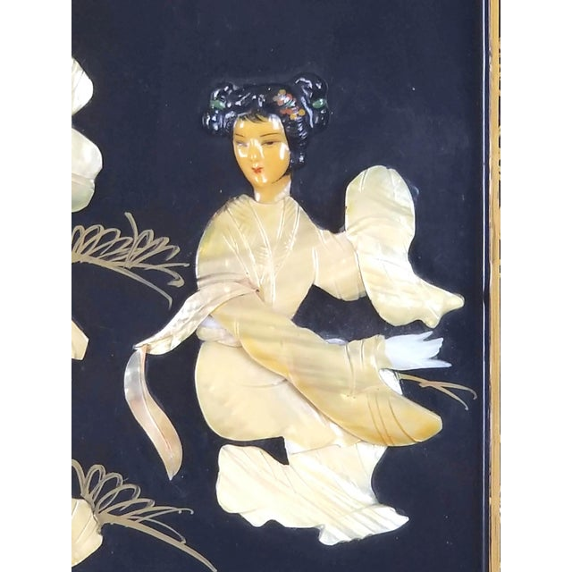 Vintage Japanese Black Lacquered Mother of Pearl, Bone Wall Panel For Sale - Image 4 of 10
