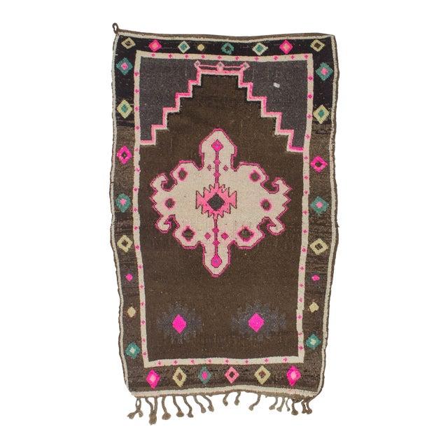Vintage handknotted small decorative Turkish Kars area rug For Sale