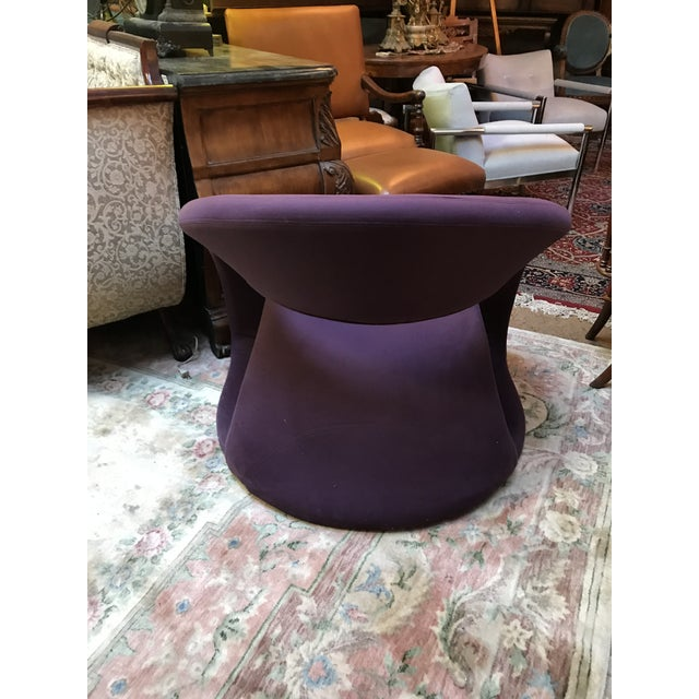 Textile Mid Century Modern Jaymar Memphis Sculptural Cantilever Lounge and Ottoman in Purple Fabric For Sale - Image 7 of 13