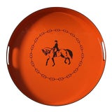 Image of Hermes-Inspired Orange Equestrian Serving Tray For Sale
