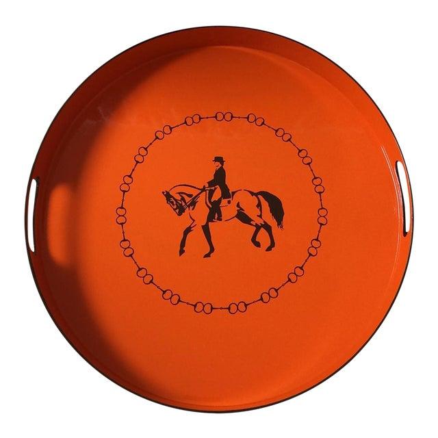 Hermes-Inspired Orange Equestrian Serving Tray For Sale