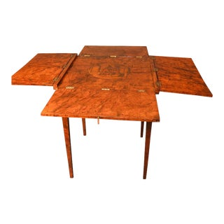 Continental Neoclassical Games Table In Amboyna Burl For Sale