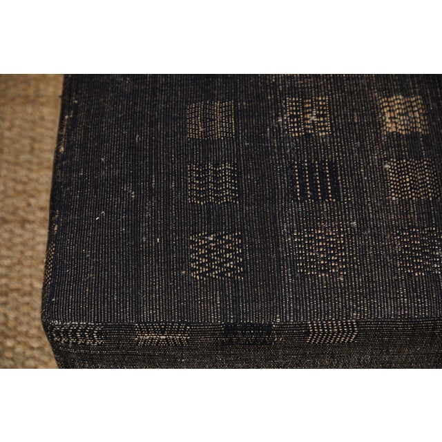 Black Handwoven Indian Fabric Upholstered Ottoman For Sale - Image 8 of 10