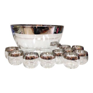 Dorothy Thorpe Silver Band Glass Punch Bowl & 12 Roly Poly Cups Set For Sale