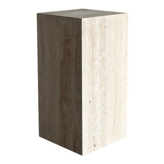 Tall Travertine Pedestal, Circa 1980 For Sale