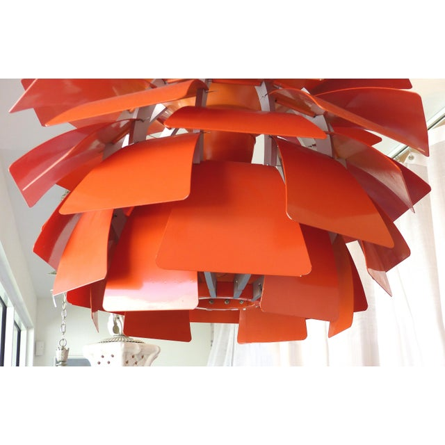Vintage reproduction orange artichoke chandelier chairish mid century modern vintage reproduction orange artichoke chandelier for sale image 3 of 7 aloadofball Image collections