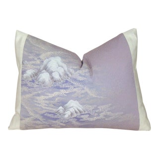Hand-Painted Misty Mountain Japanese Silk Kimono Pillow Cover For Sale