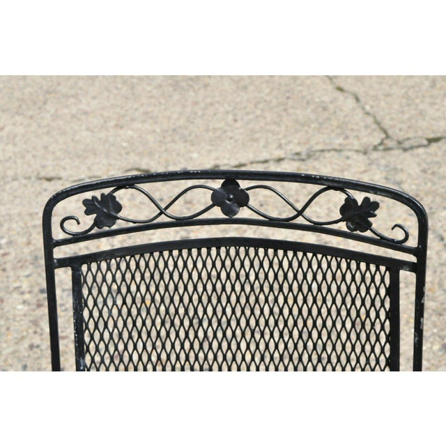 Traditional Vintage Mid Century oodard Wrought Iron Patio Bouncer Lounge Arm Chairs- A Pair For Sale - Image 3 of 12