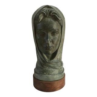 Vintage Mid Century Monumental Italian Modern Female Beatrice Plaster Bust For Sale