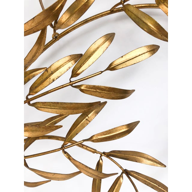 1960s Vintage Italian Gilded Tole Leaves Wall Sculpture For Sale - Image 5 of 9