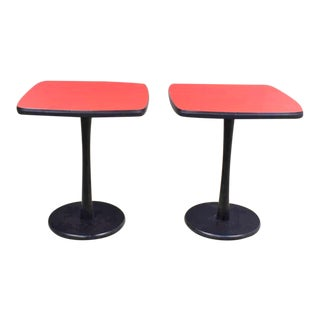 Small Pair of Red Laminate Squircle Pedestal Side Tables Mid Century Modern For Sale