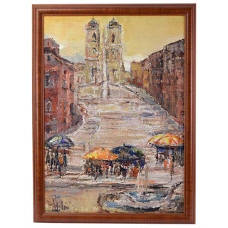 1960s Vintage Wilimowska Impressionistic Spanish Plaza Oil Painting For Sale
