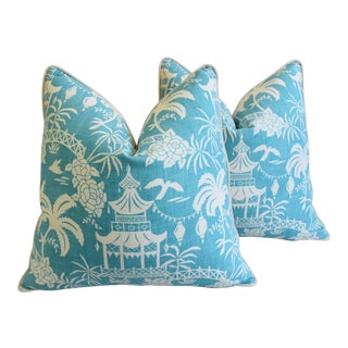 "Aqua & White Chinoiserie Asian Pagoda Linen & Velvet Feather/Down Pillows 26"" - Pair"