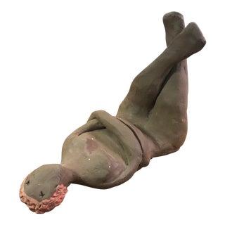 Original Resting Female Nude Sculpture in Dark Ceramic For Sale
