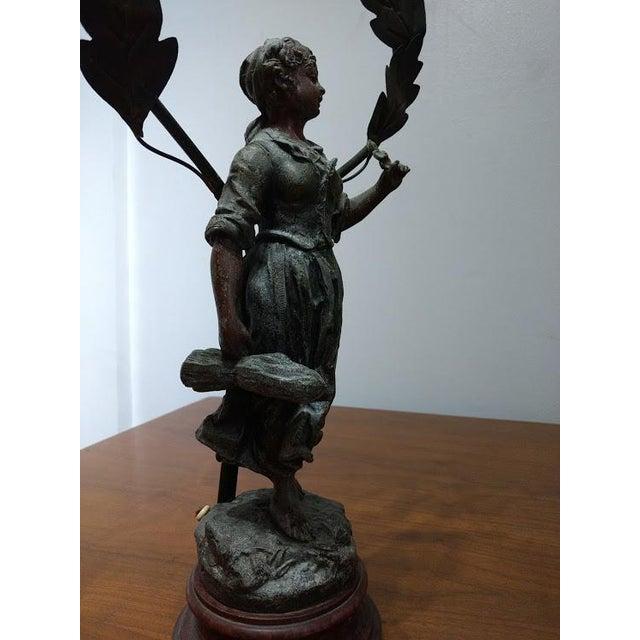 1890-1920 Art Nouveau Metal Faneuse Peasant Girl Sculpture For Sale - Image 5 of 8