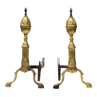 Antique American Brass Andirons - A Pair For Sale
