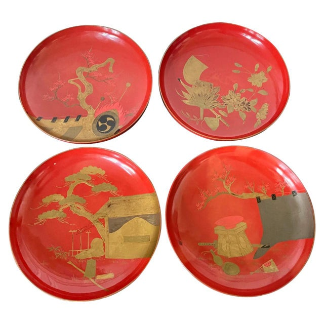 Japanese Maki-e Lacquered Pedestal Dishes - Set of 4 For Sale - Image 10 of 10