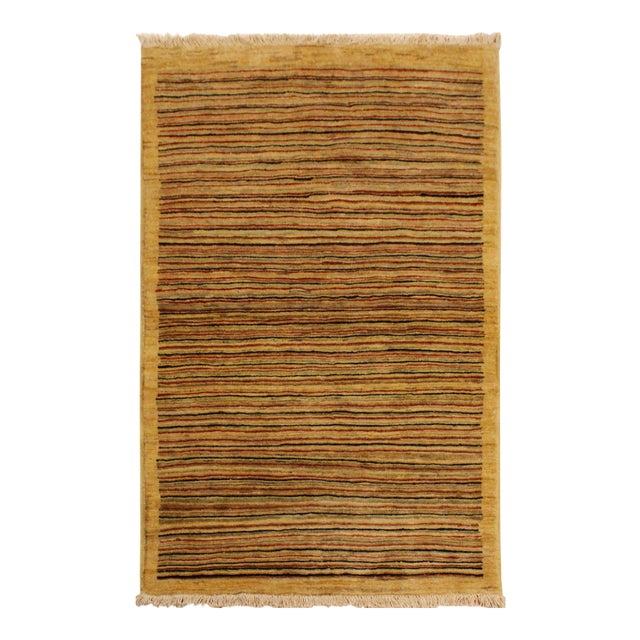 Boho Chic Gabbeh Peshawar Jovita Tan/Red Hand-Knotted Wool Rug -3'0 X 4'9 For Sale