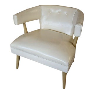 Mid Century White Club Chair For Sale