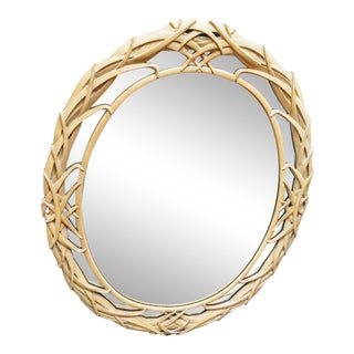 Oval Vintage Palm Leafs Natural Palm Beach Regency Wall Mirror For Sale