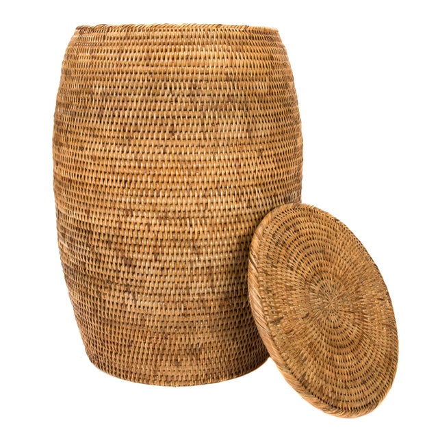 Boho Chic Artifacts Rattan End Table With Lid For Sale - Image 3 of 5