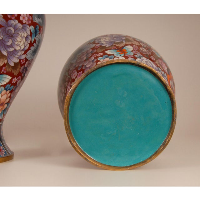 Brick Red 1930s Large Chinese Cloisonne Enamel Gilt Bronze Hand Crafted Baluster Vases - a Pair For Sale - Image 8 of 11