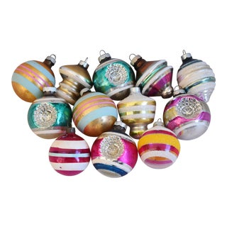 Midcentury 1960s Colorful Christmas Ornaments W/Box - Set of 12 For Sale