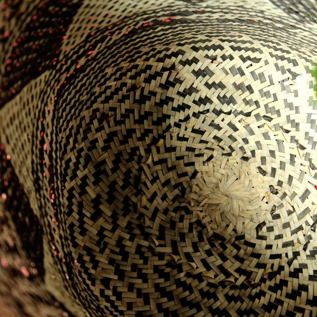 Borneo Drum Tribal Straw Basket with Mint Pom-poms - Image 4 of 5
