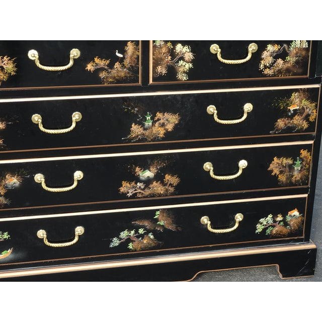 Vintage Chinese Asian Black Lacquer Chinoiserie Secretary Desk Hutch Hand Paint For Sale - Image 11 of 13
